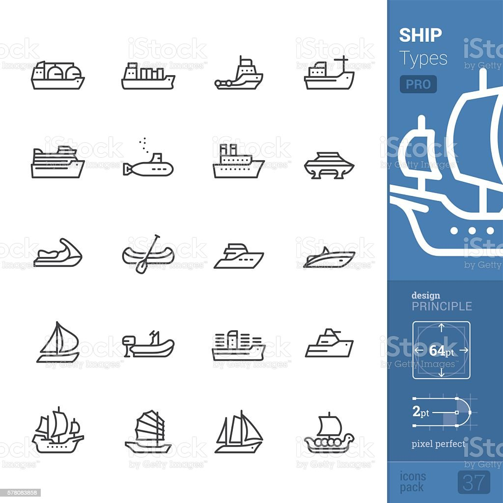 Ship and Vessel types, Outline vector icons - PRO pack vector art illustration