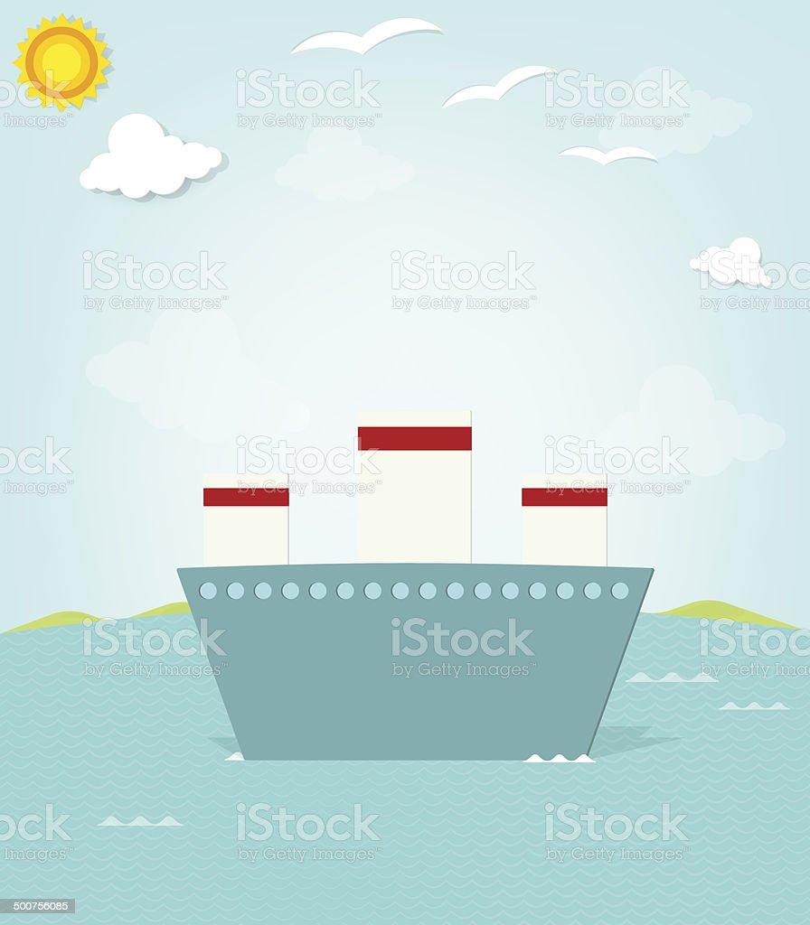 Navire sur la mer stock vecteur libres de droits libre de droits