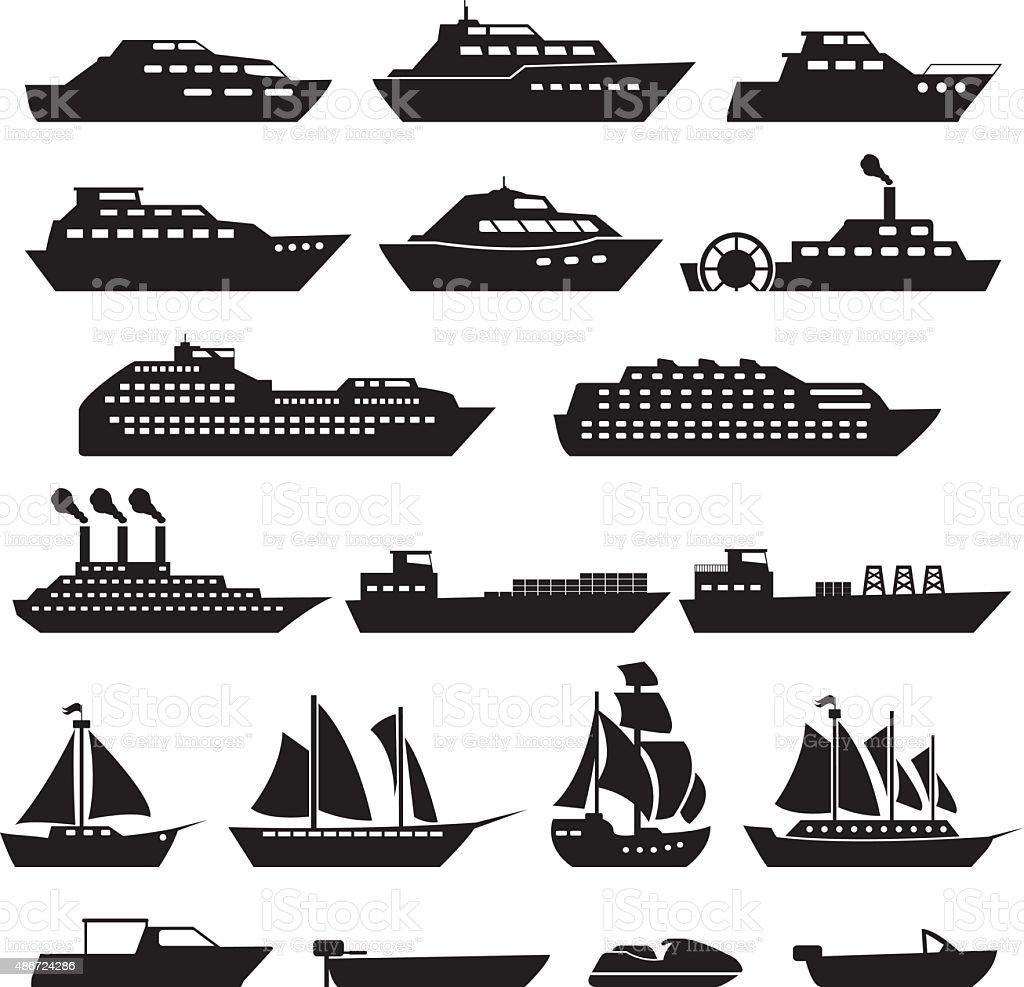 Ship Boat Icons Set vector art illustration