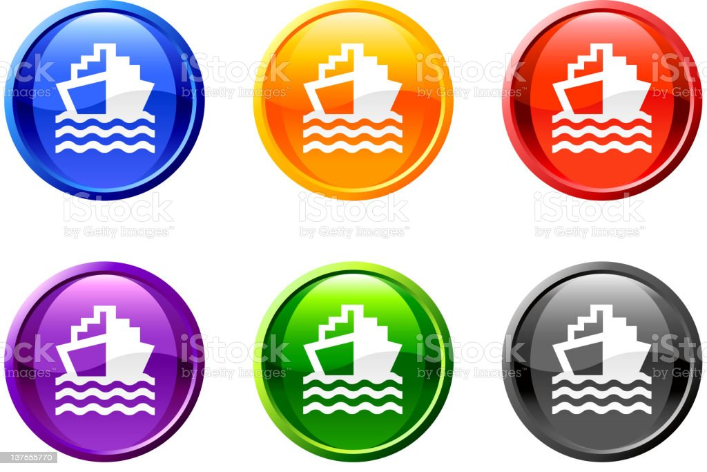 ship boat royalty free vector icon set round buttons royalty-free stock vector art