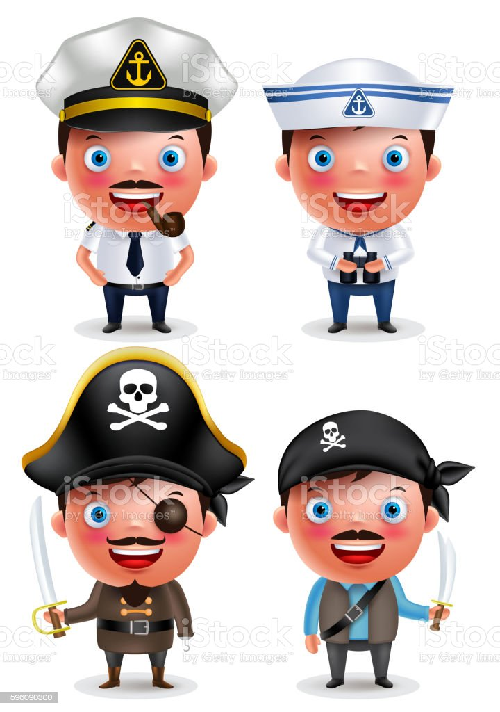 Ship captain, seafarer and pirates vector character set with uniform vector art illustration