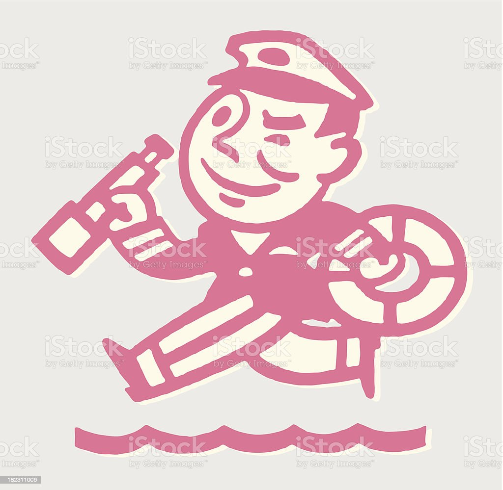 Ship Captain with Telescope and Life Preserver royalty-free stock vector art