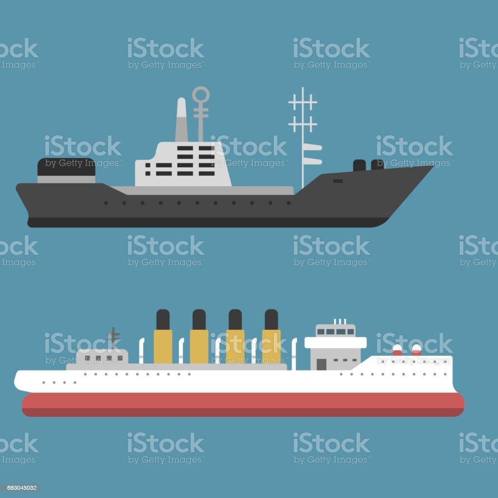 Ship cruiser boat sea symbol vessel travel industry vector sailboats cruise set of marine icon vector art illustration