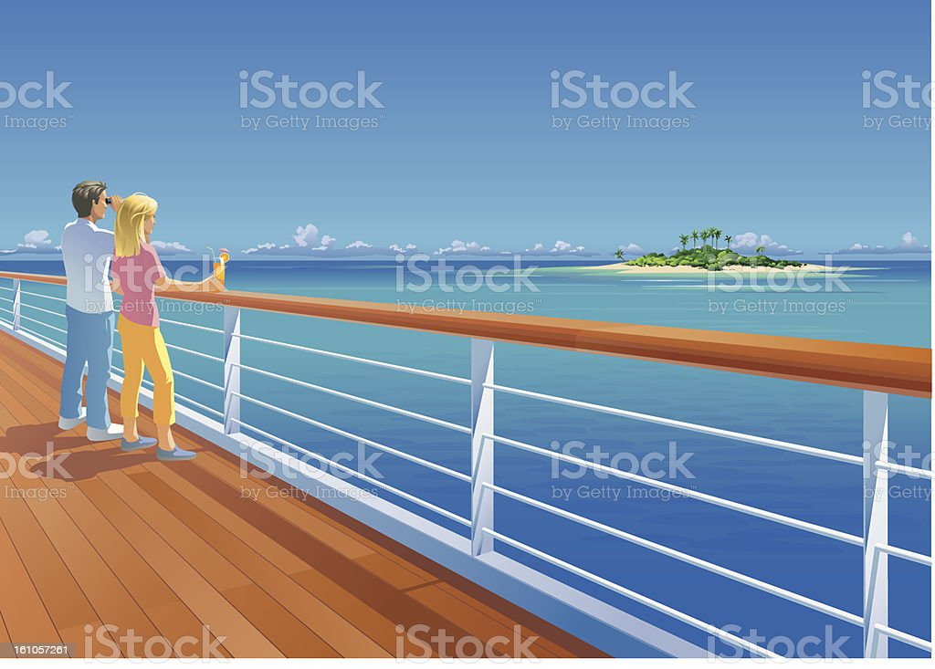 Ship Deck Couple and Tropical Island vector art illustration