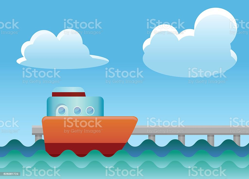 Ship docking on wharf vector icon vector art illustration