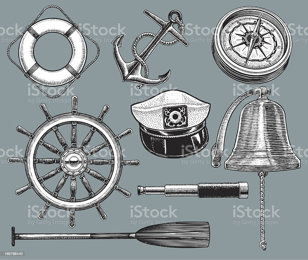 Ship Equipment - Anchor, Life Preserver, Compass vector art illustration