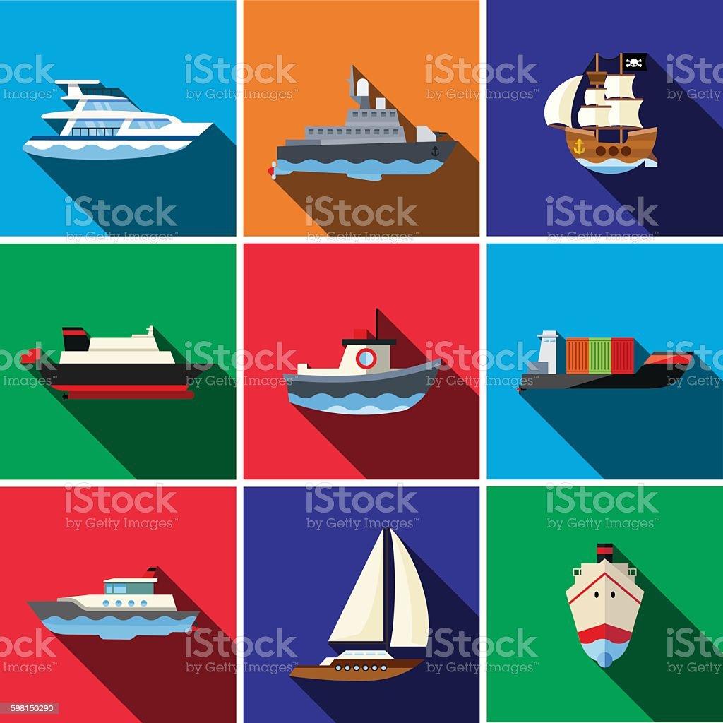 Ship flat icon set vector art illustration
