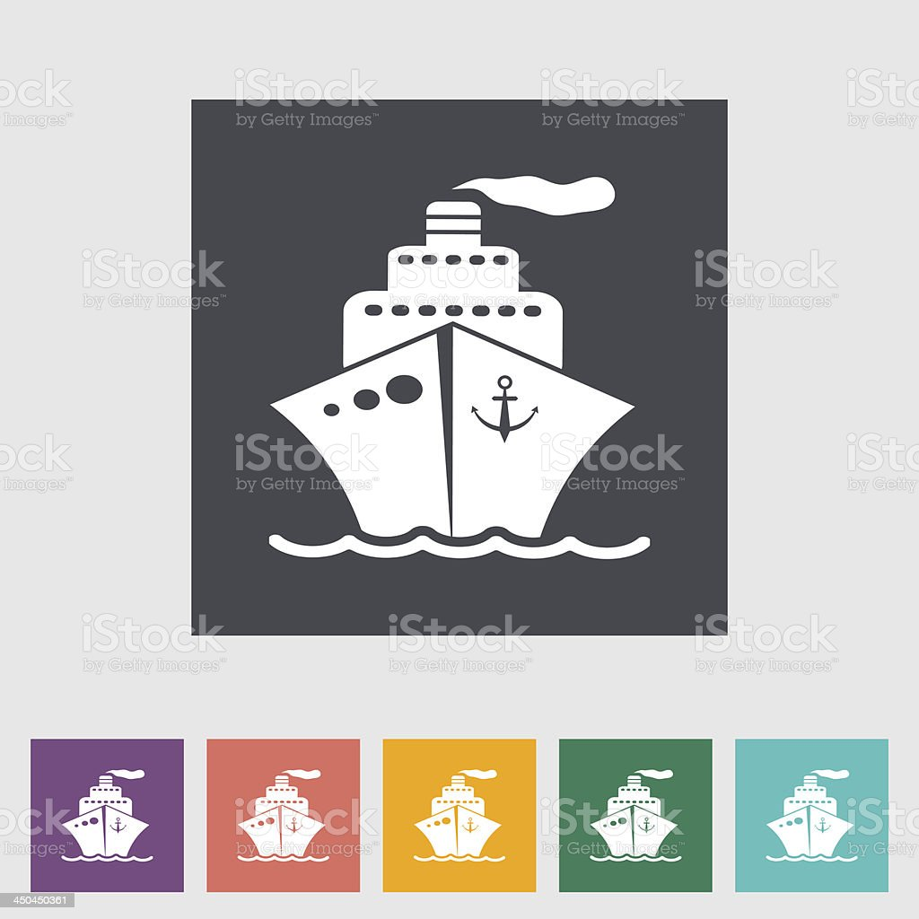 Ship flat icon. royalty-free stock vector art