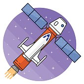 Ship flying in space on the white background.