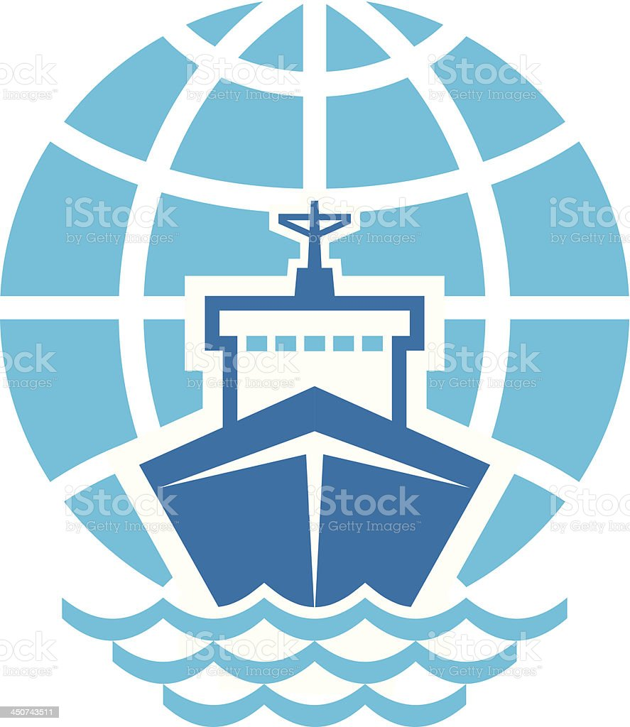 Ship & Globe Logo Sign vector art illustration