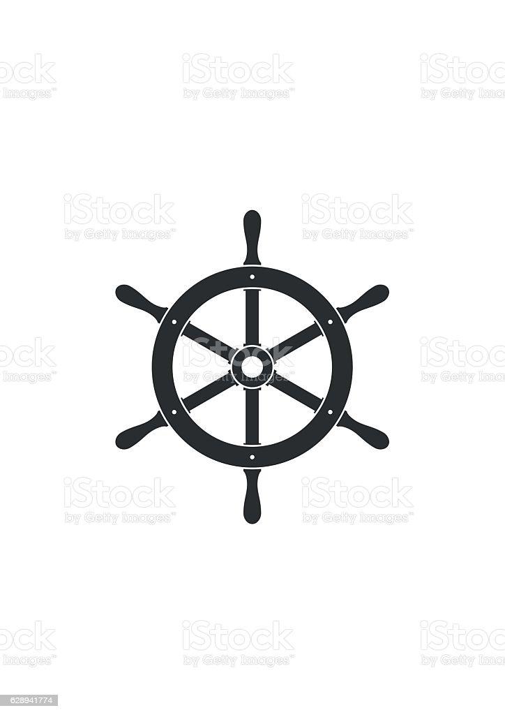 Ship helm icon isolated. Yacht steering wheel vector vector art illustration