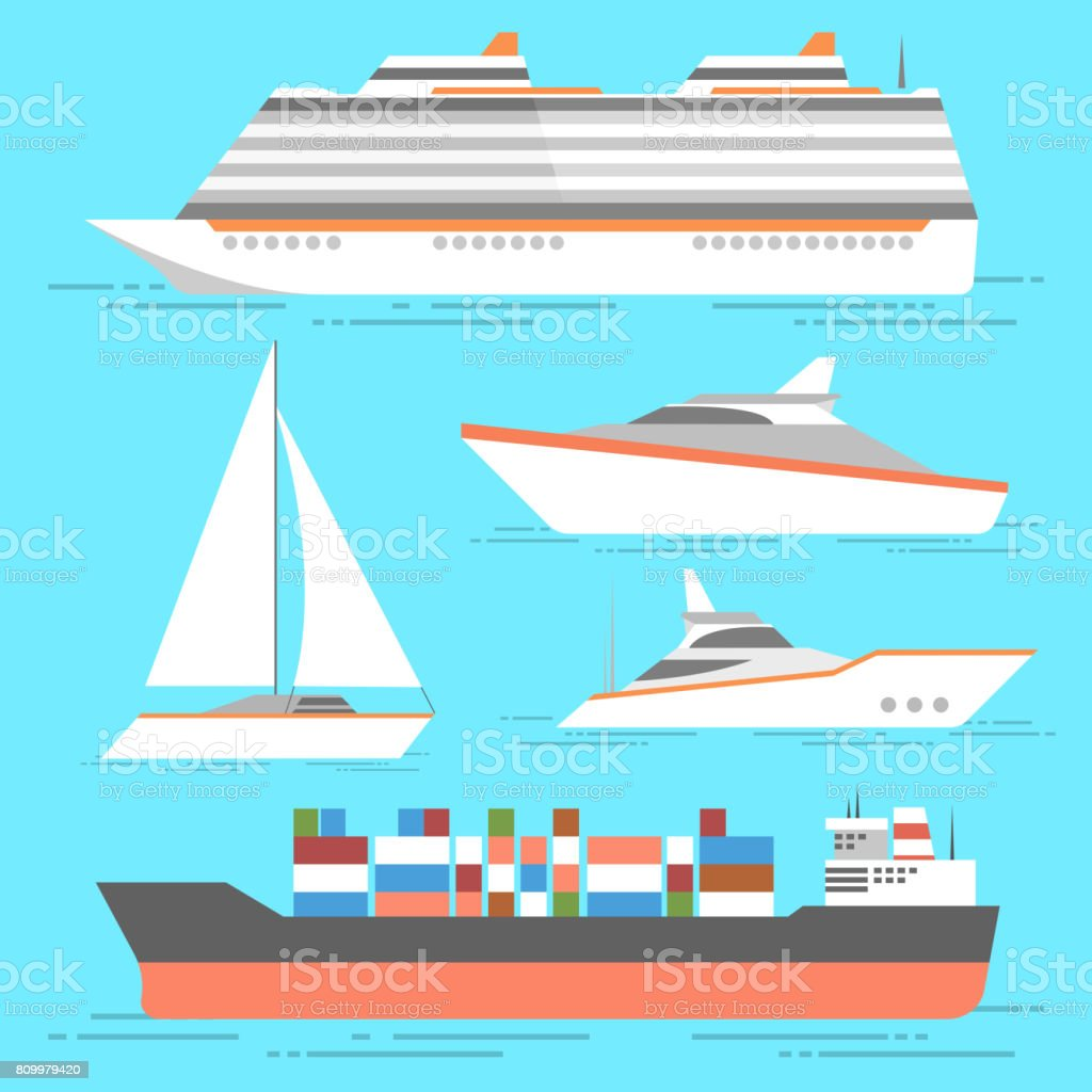 Ship icons set. Vector boats isolated. Ocean ships collection vector art illustration