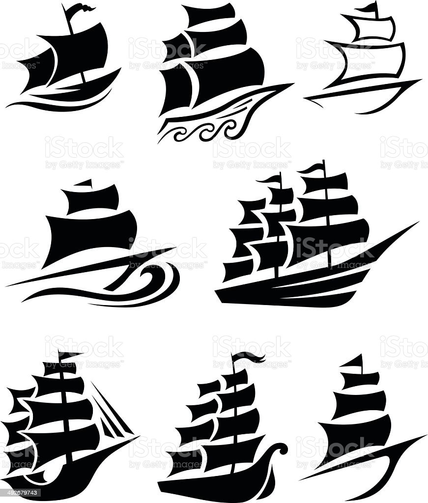 Ship icons vector art illustration