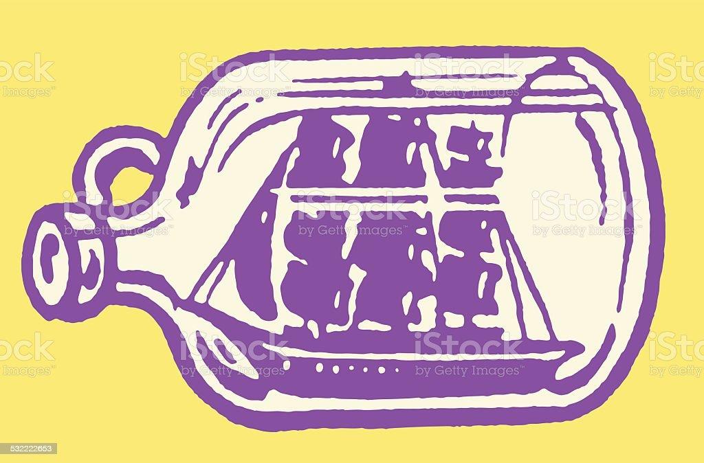 Ship in a Bottle vector art illustration