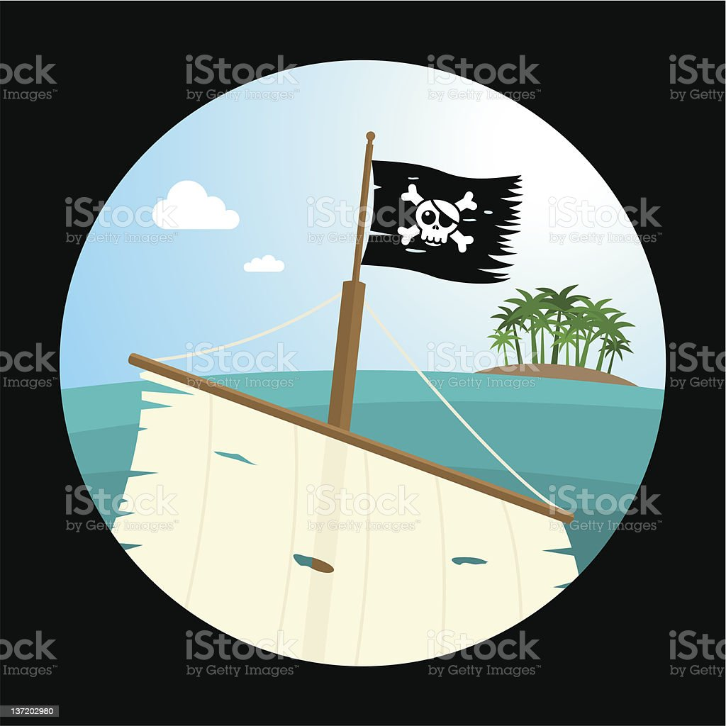 Ship in sight with pirate flag. vector art illustration
