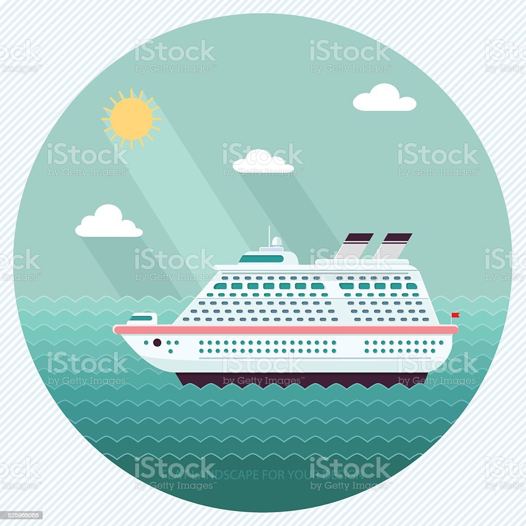 Ship in the Ocean. Trip around the world. Flat design style vector...