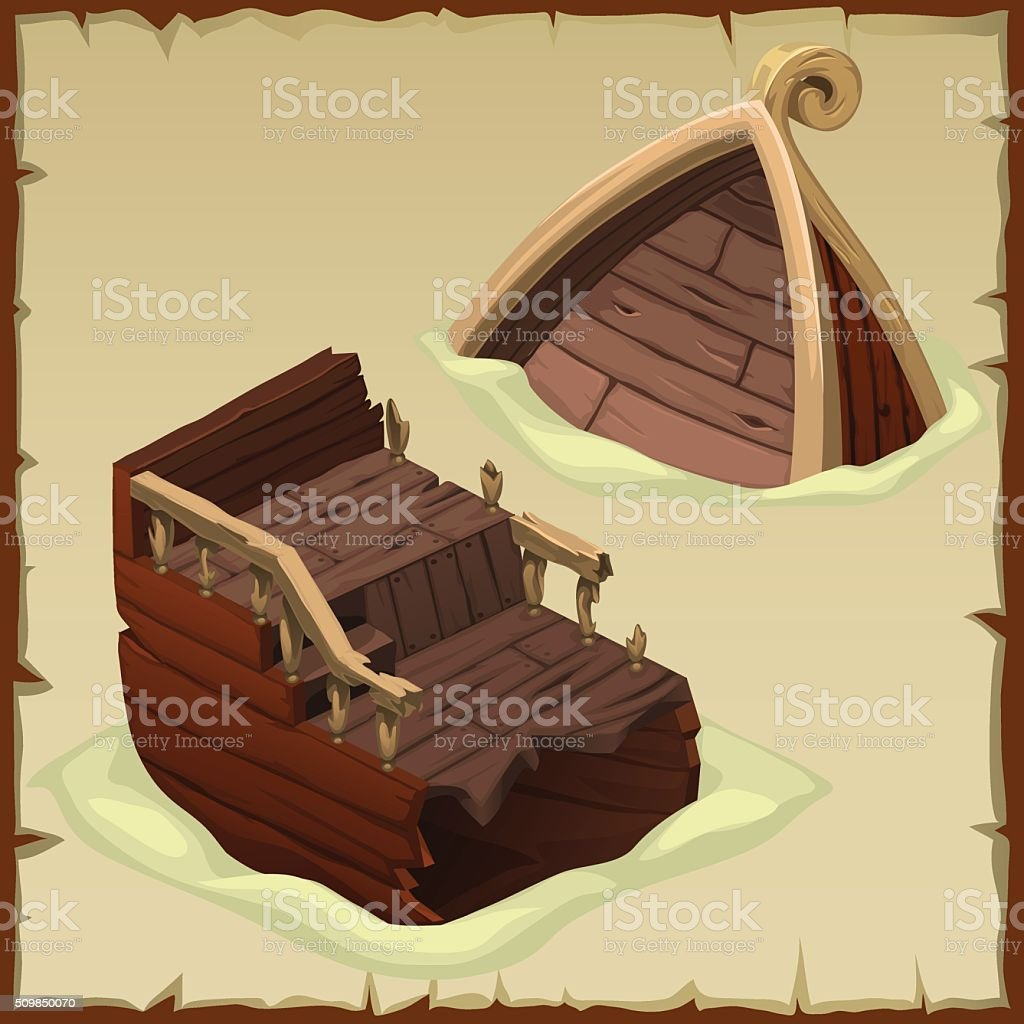 Ship is broken into two parts in the sand vector art illustration