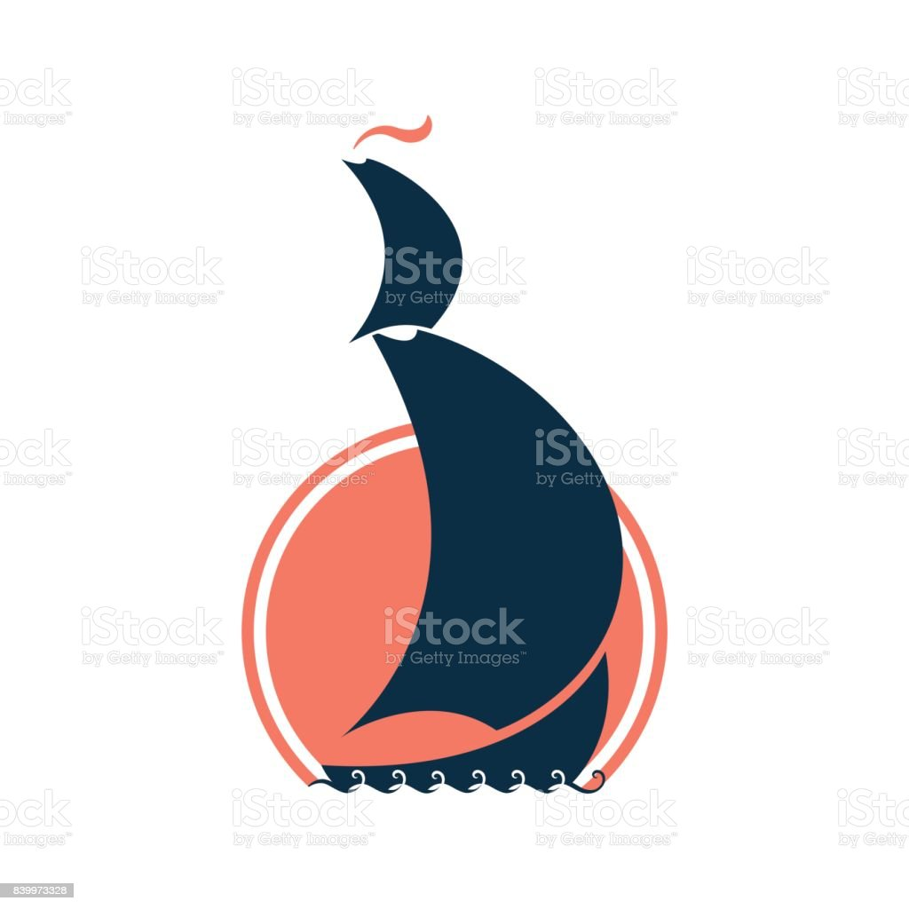Ship on the background of sunset or sunrise. vector art illustration