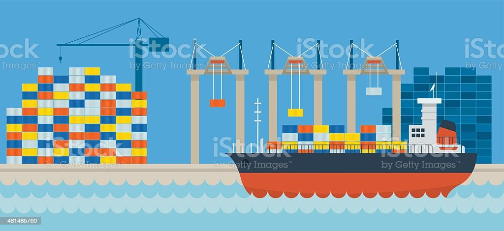 Ship Port Cargo Shipping vector art illustration