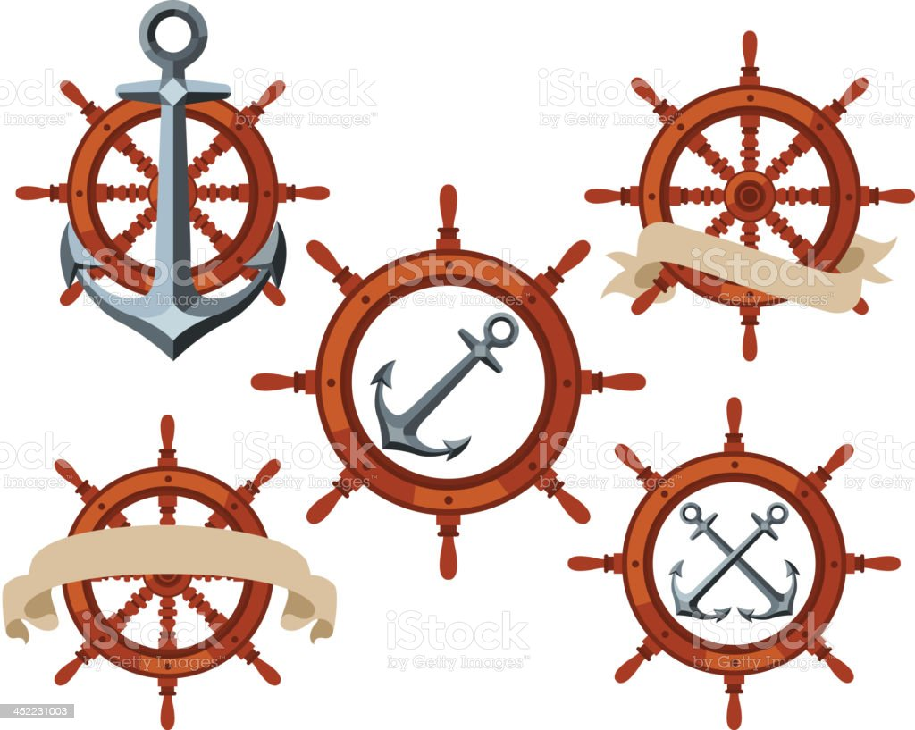 Ship Rudder Wheel royalty-free stock vector art