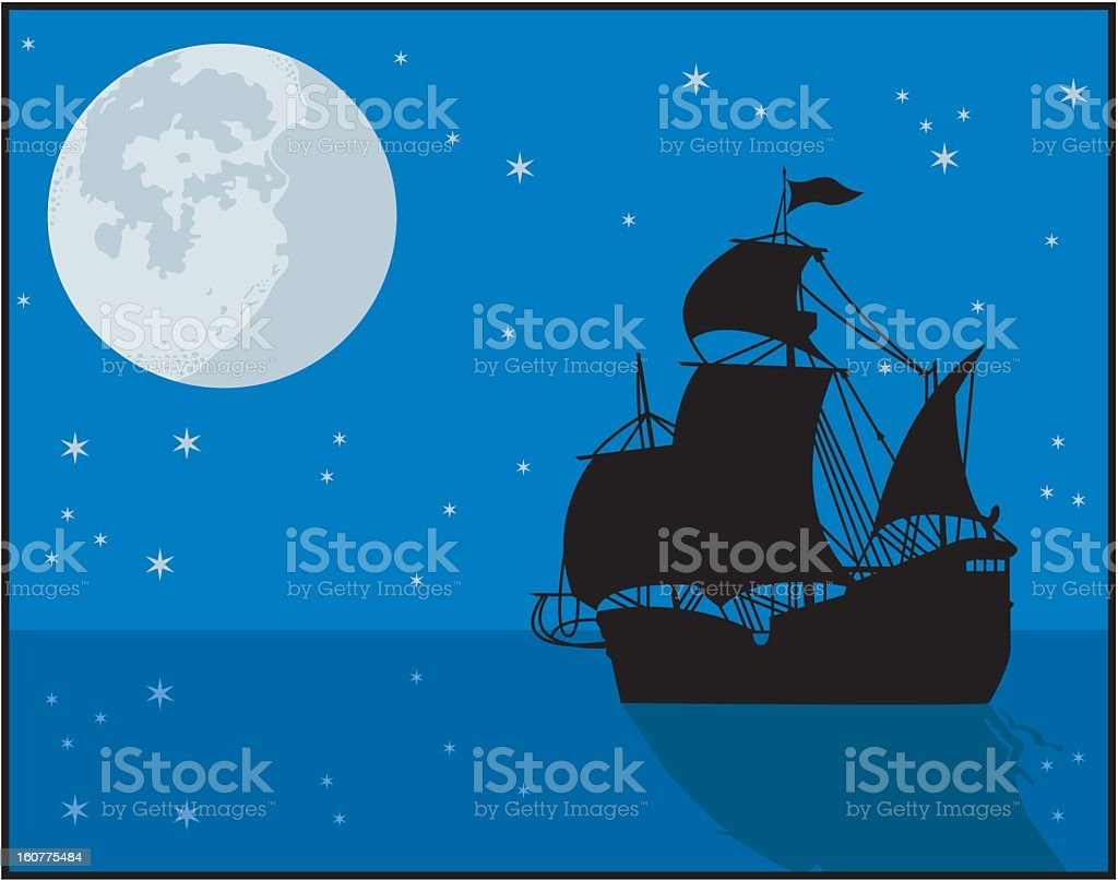 Ship Sailing at Night royalty-free stock vector art