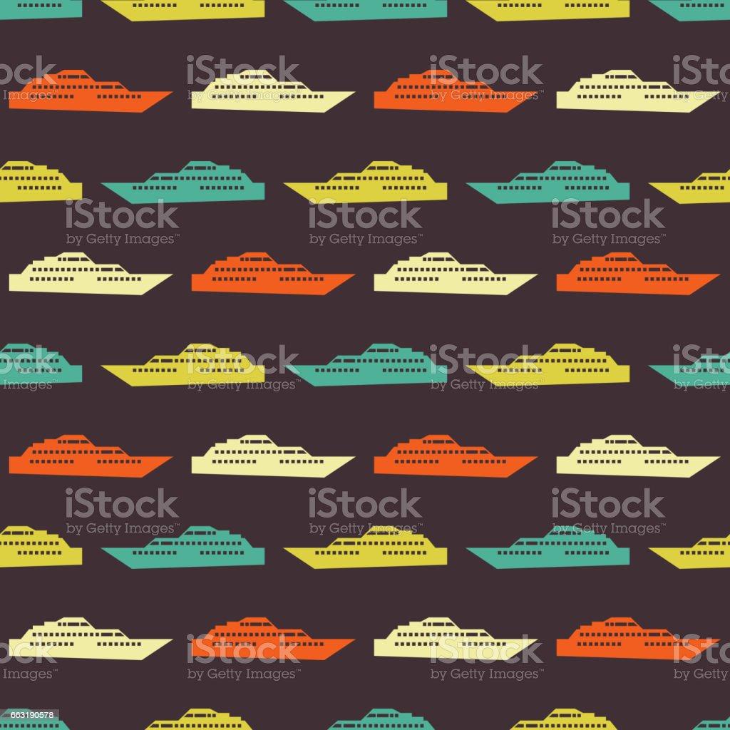 Ship seamless pattern vector art illustration