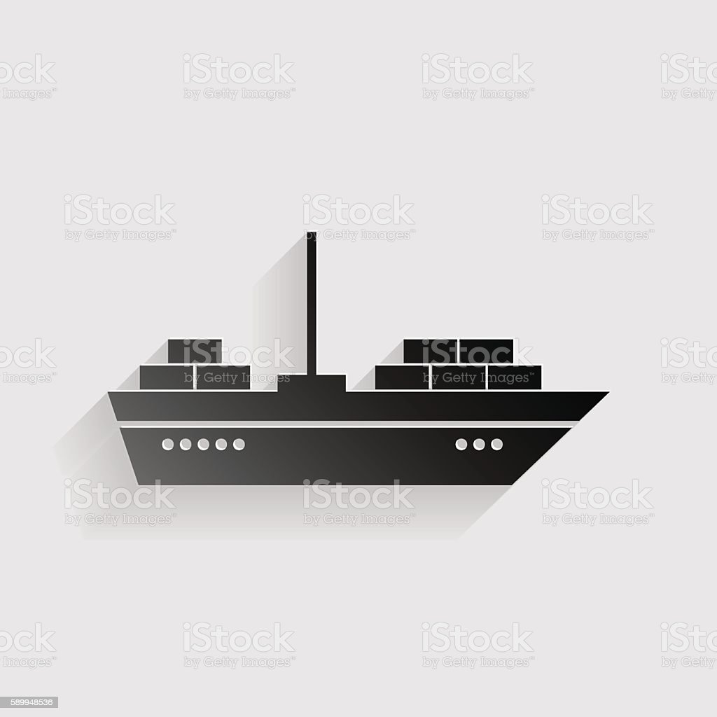 Ship sign illustration. Black paper with shadow on gray background. vector art illustration