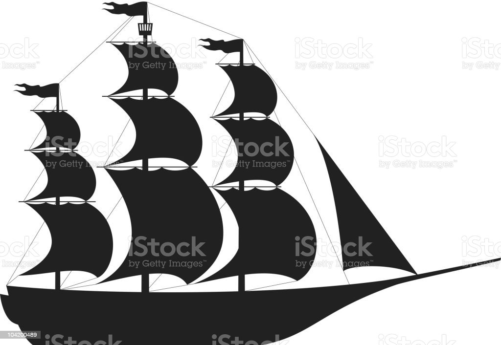 ship silhouette vector art illustration