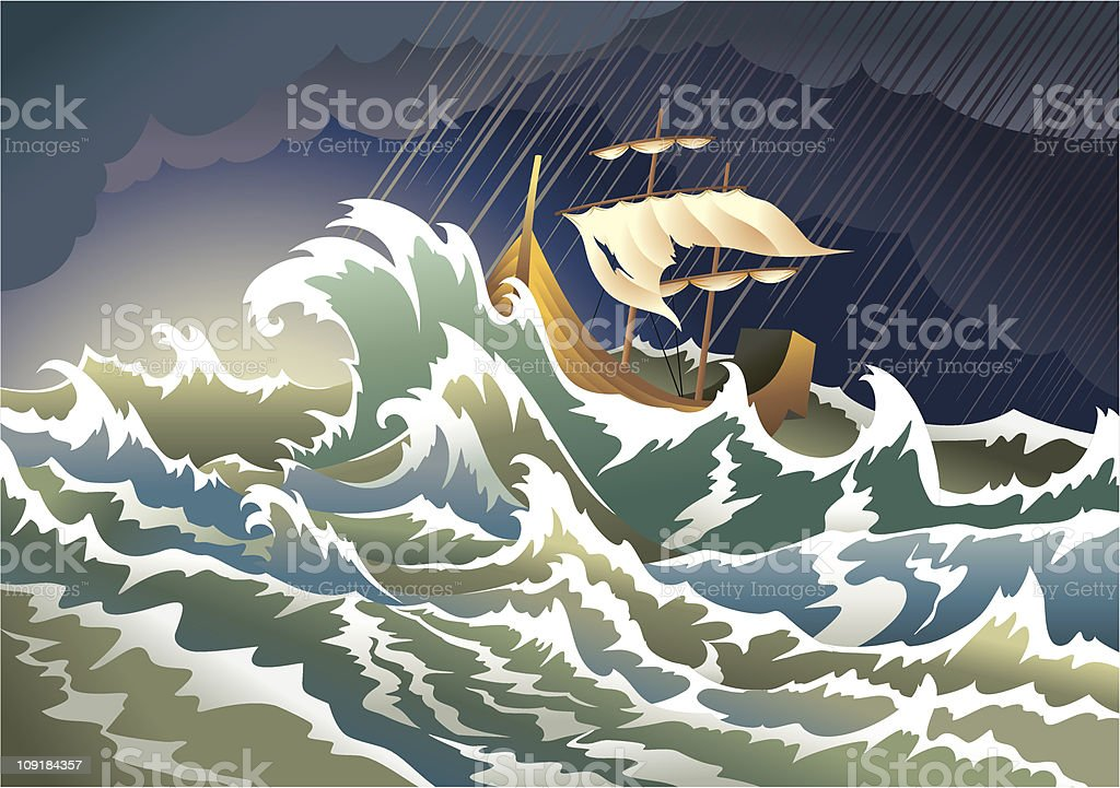 Ship sinking in the storm vector art illustration