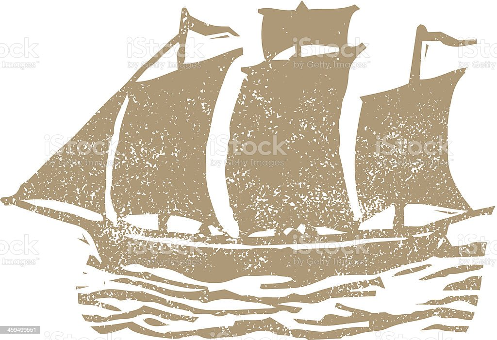 Ship stamp vector art illustration