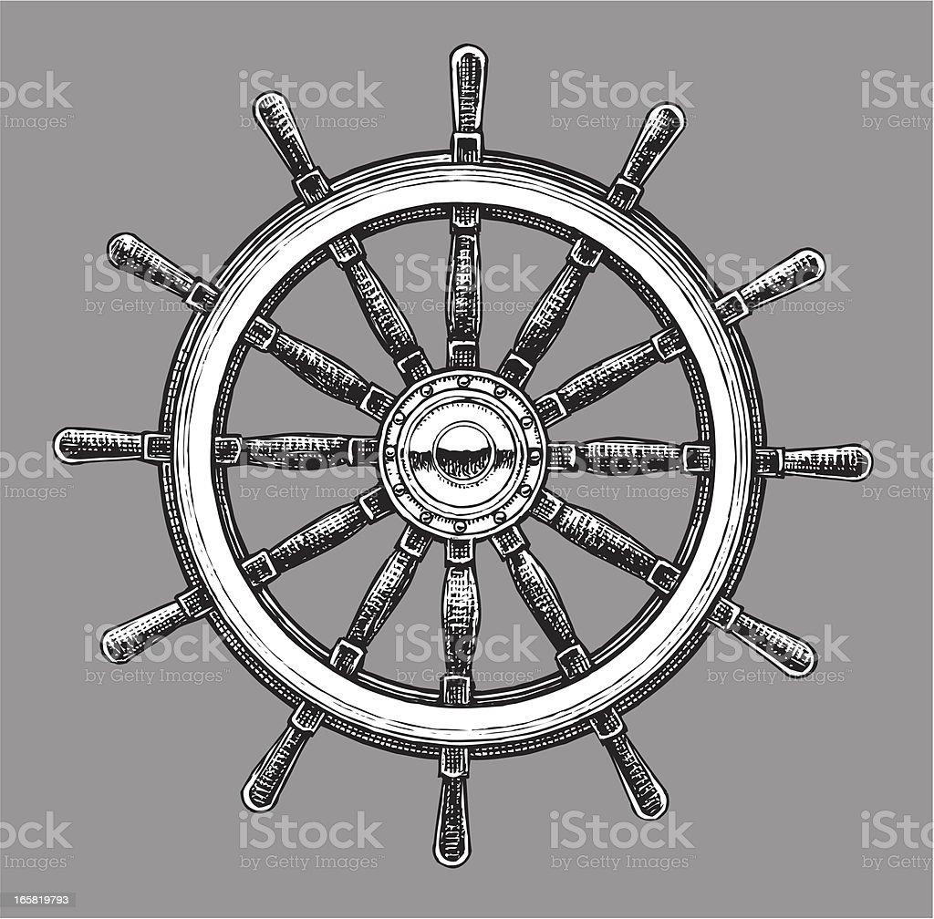 Ship Steering Wheel - Navigational Equipment vector art illustration