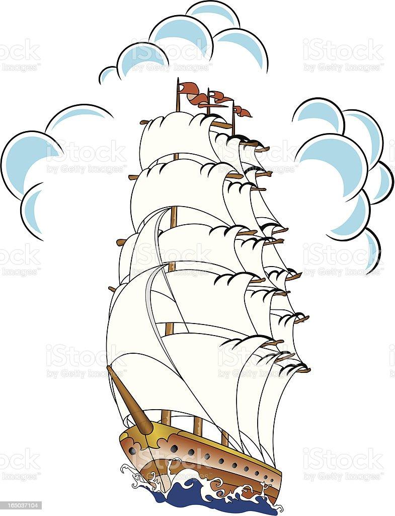 Ship - Tattoo Style vector art illustration