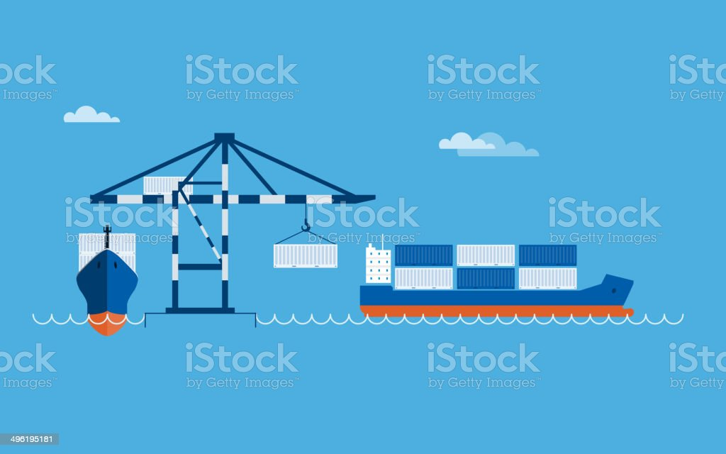 Ship Transportation Concept vector art illustration