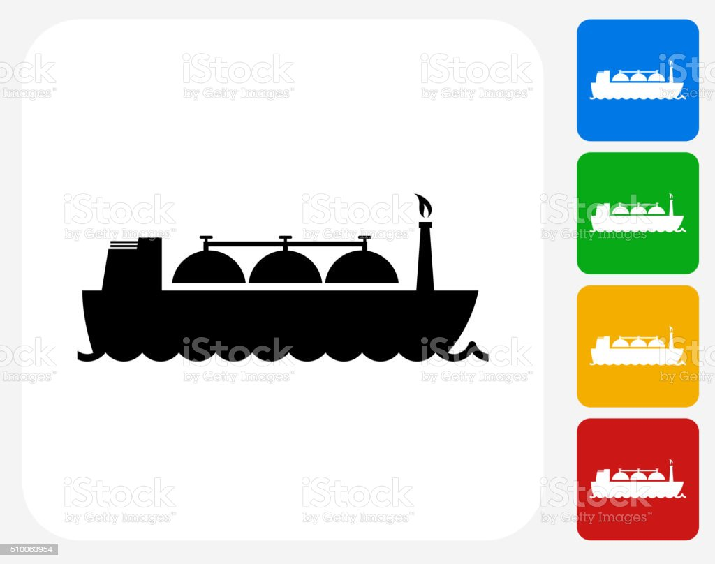 Ship Transporting Gas Icon Flat Graphic Design vector art illustration