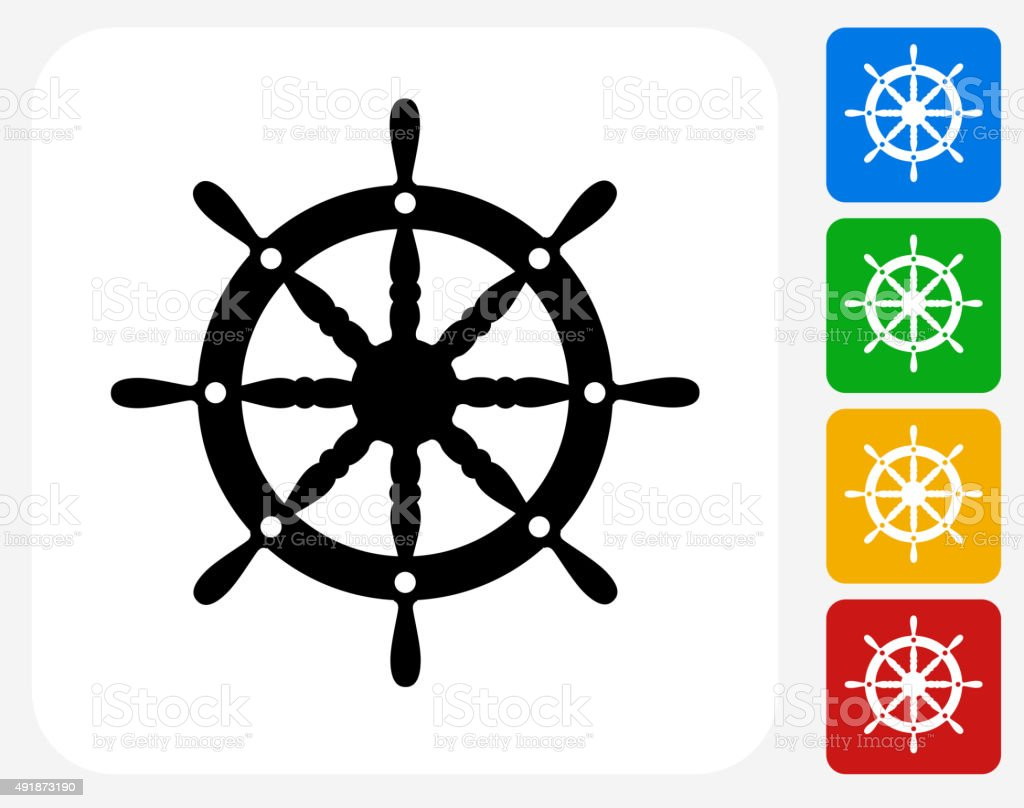 Ship Wheel Icon Flat Graphic Design vector art illustration