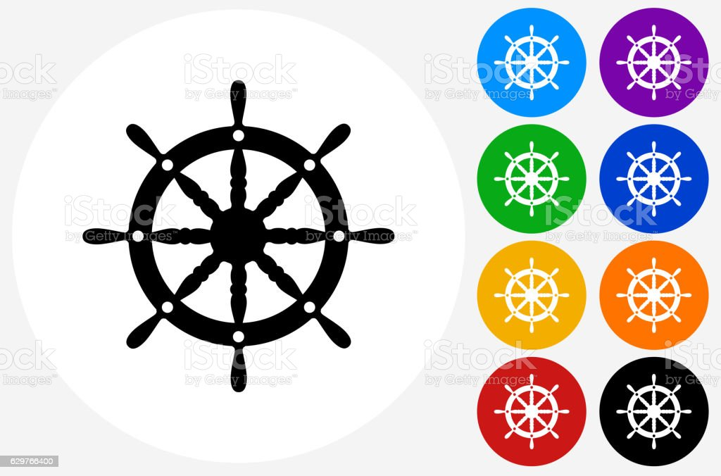 Ship Wheel Icon on Flat Color Circle Buttons vector art illustration