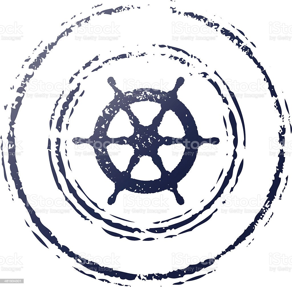 ship wheel stamp royalty-free stock vector art