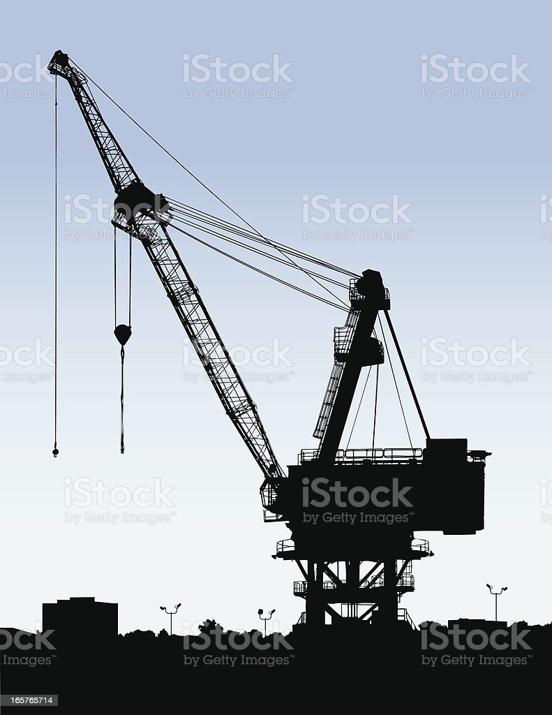 Ship yard crane vector art illustration