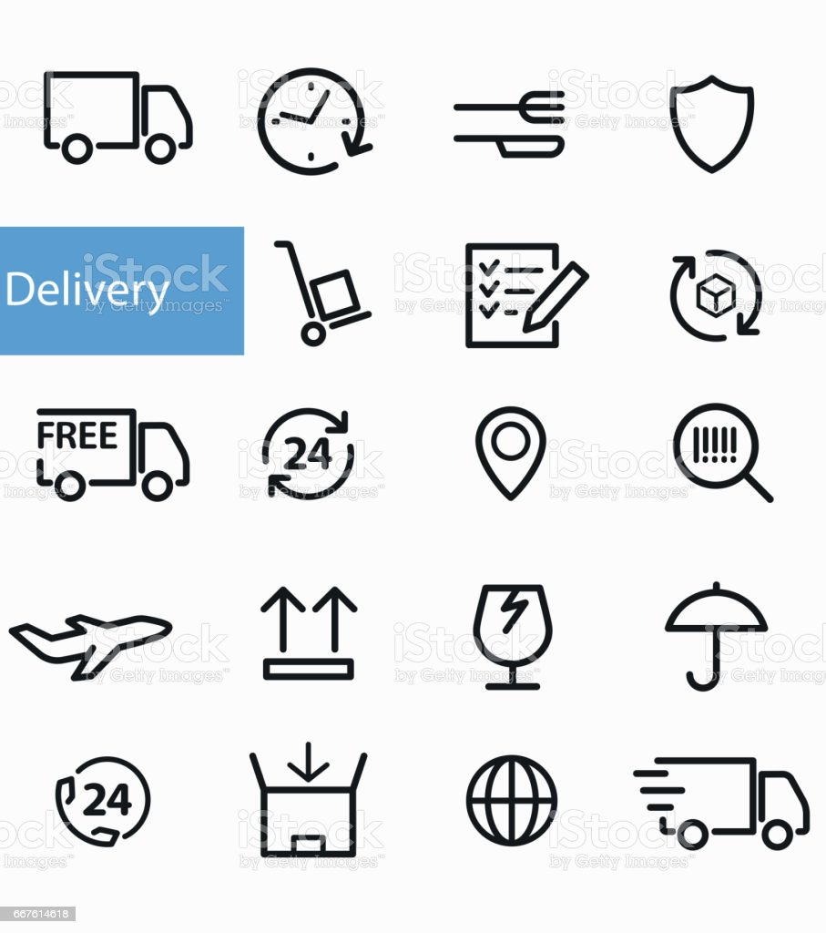 Shipment and delivery icons vector art illustration