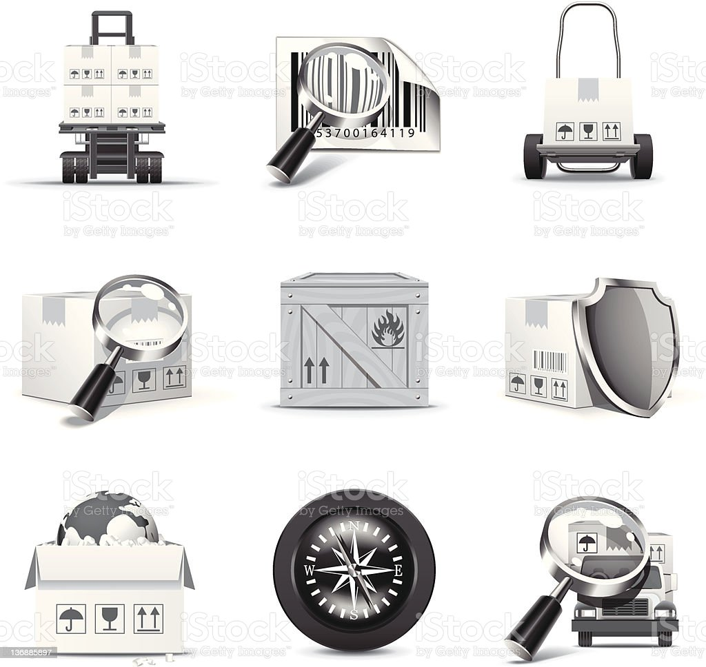 Shipping and cargo icons | B&W series royalty-free stock vector art