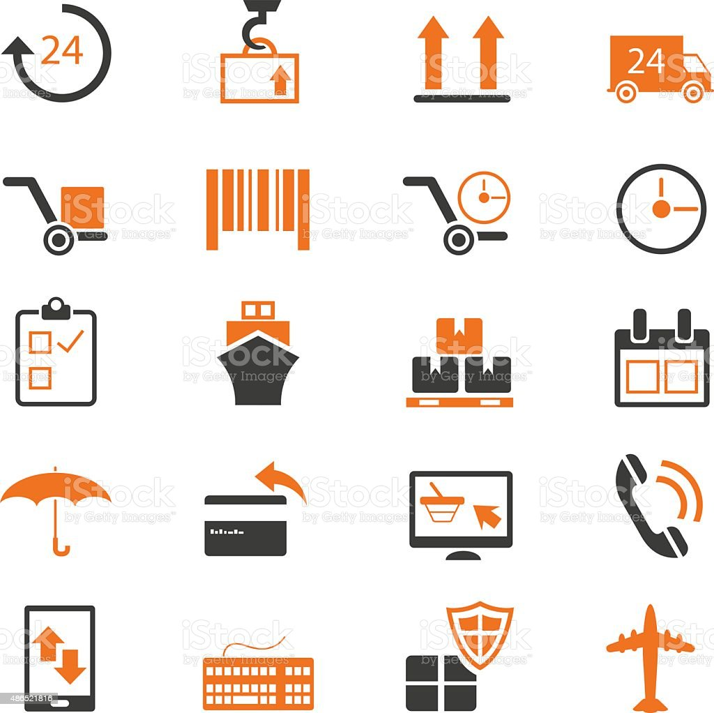 Shipping and delivery icons set vector art illustration