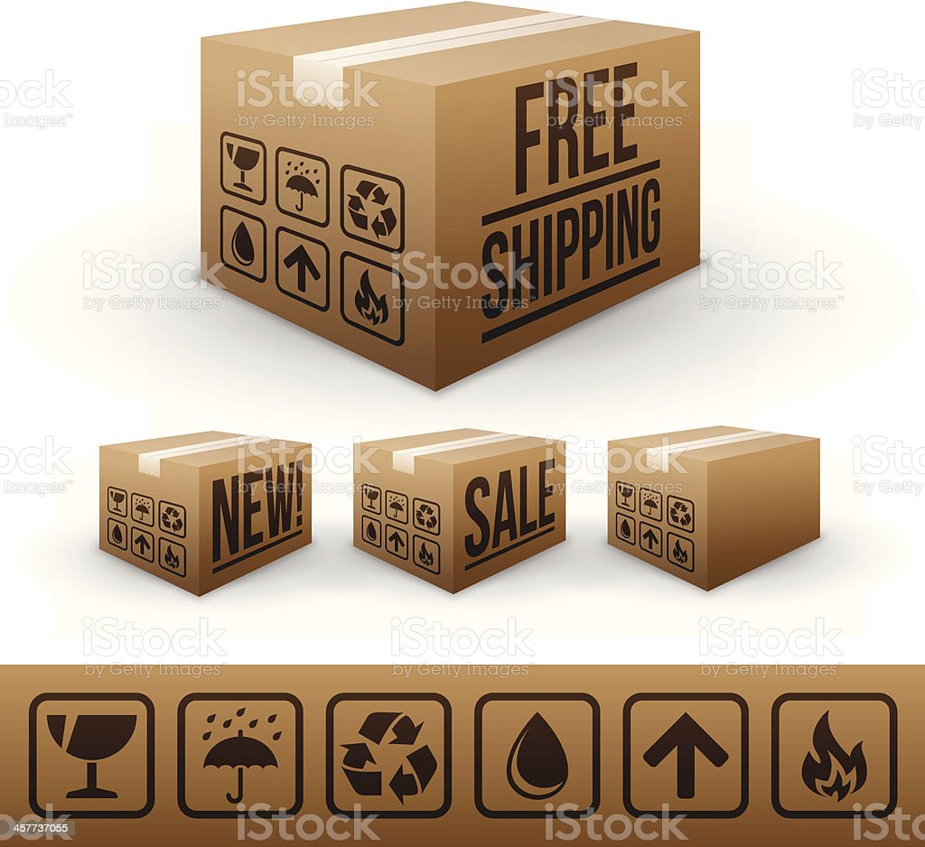 Shipping and E-commerce boxes vector art illustration