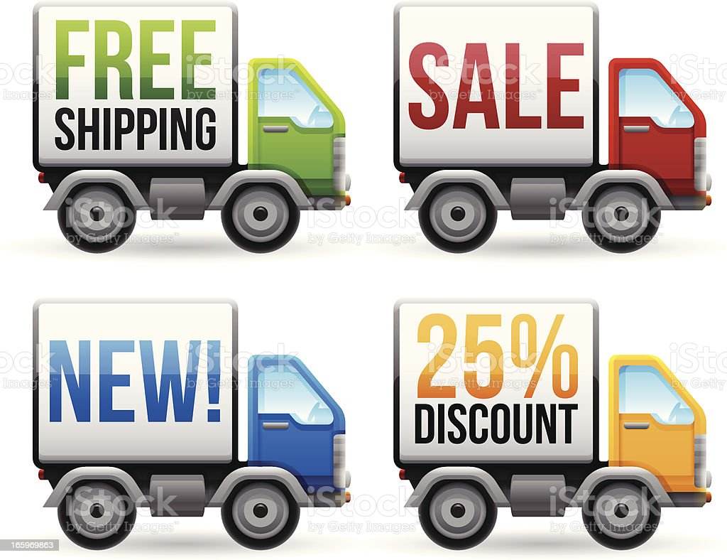 Shipping and E-Commerce Trucks royalty-free stock vector art