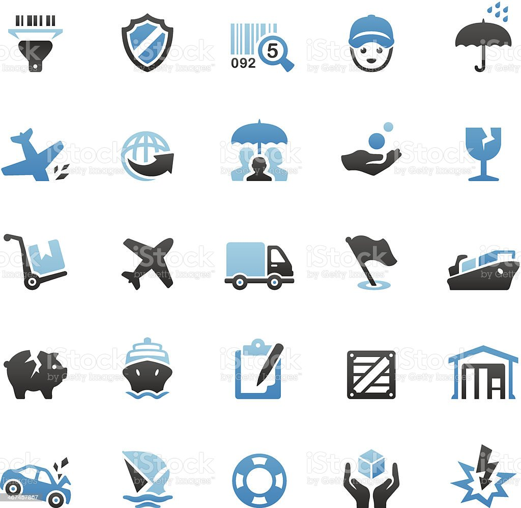 Shipping and Insurance icons set vector art illustration