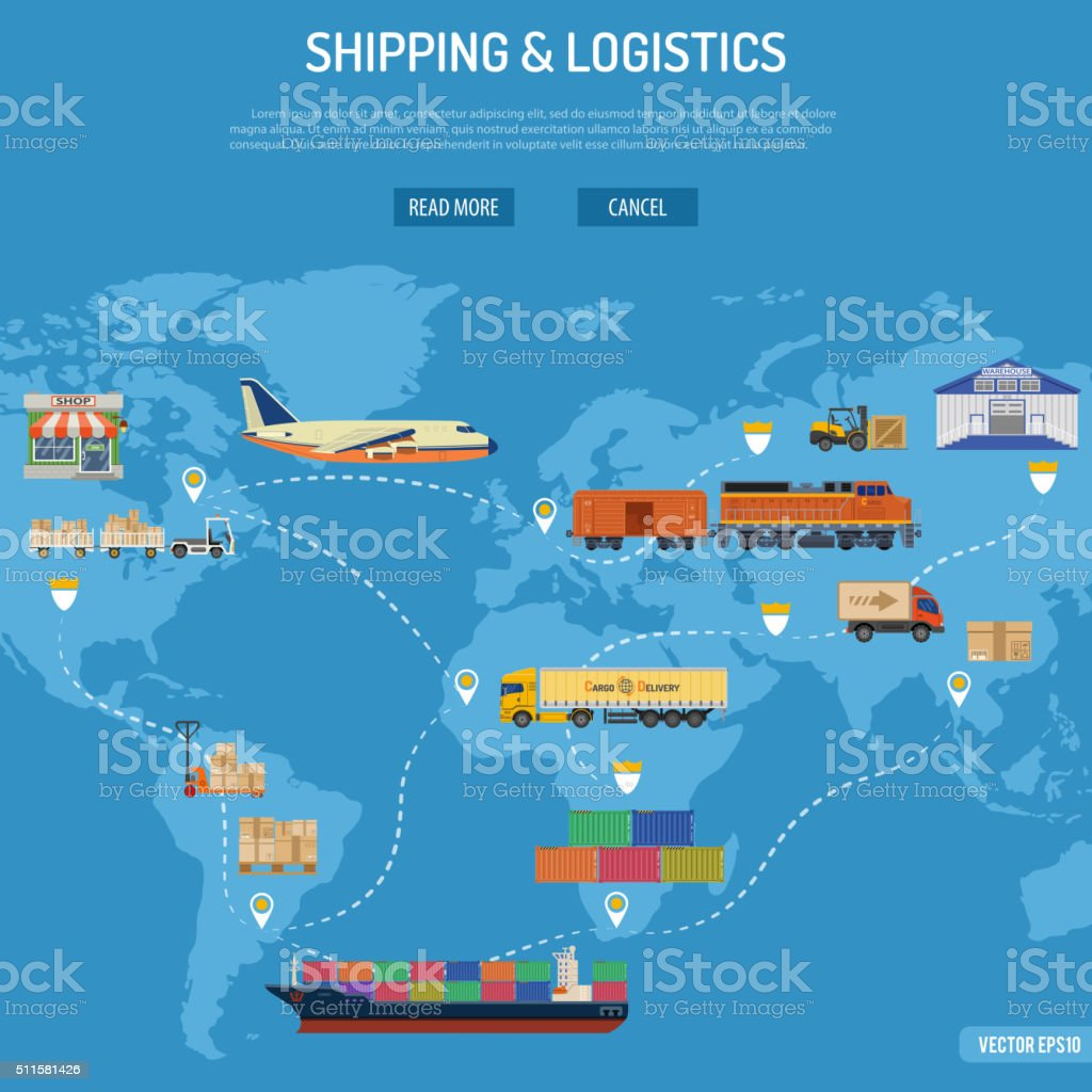 Shipping and Logistics Concept vector art illustration