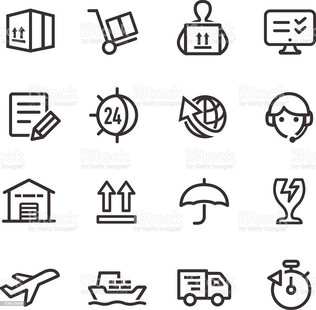 Shipping and Logistics Icons - Line Series vector art illustration