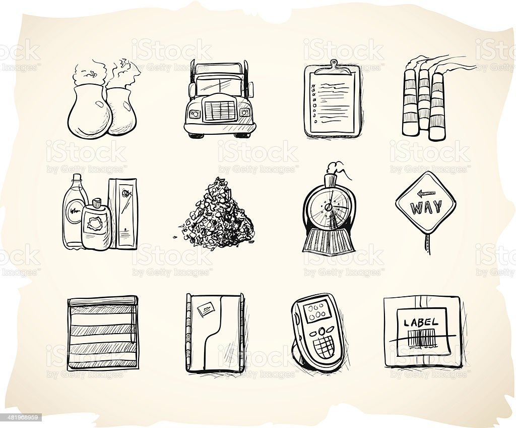 Shipping and manufacturing sketch icons 10 royalty-free stock vector art