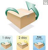 Shipping box, free delivery, return package