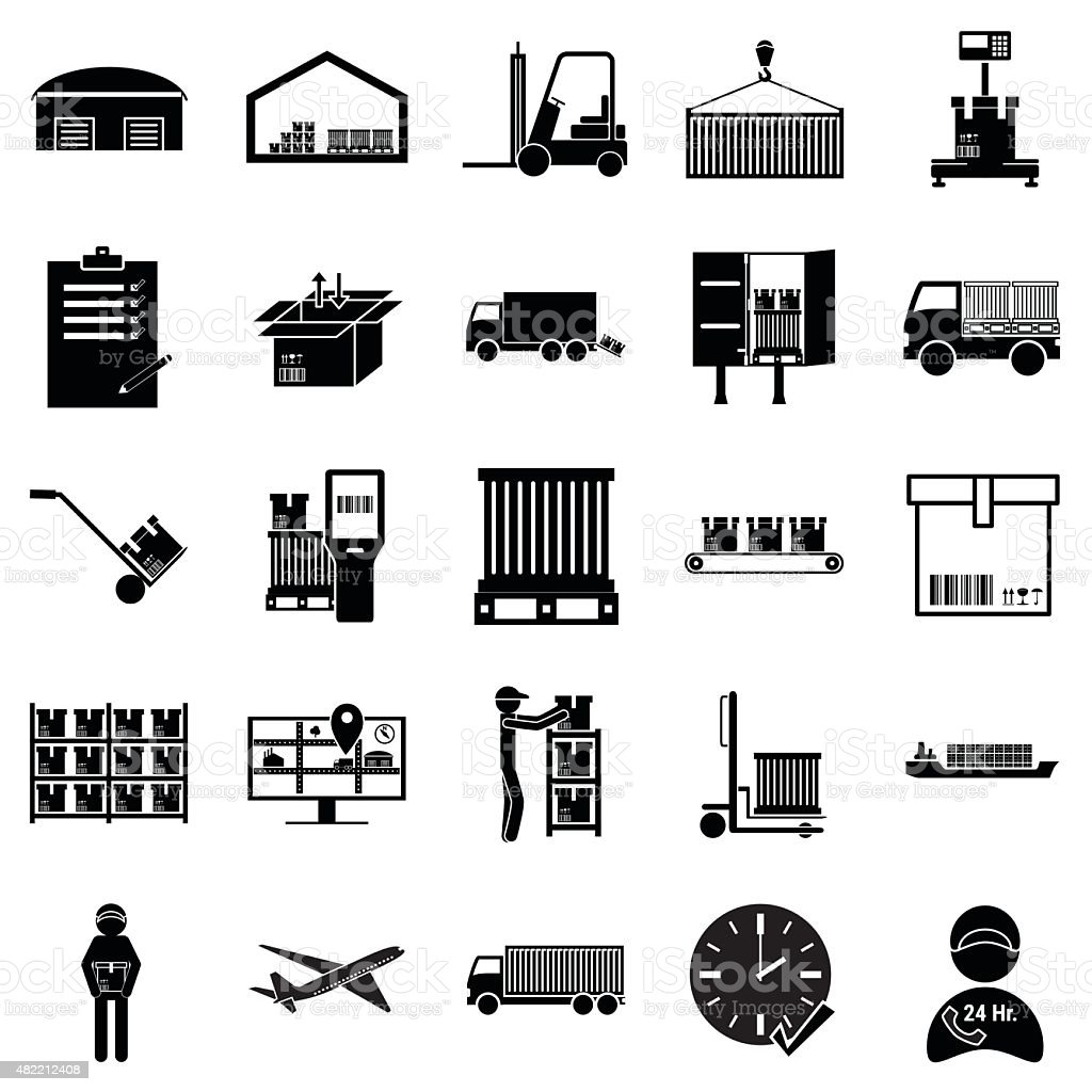 Shipping, cargo and logistic icon set vector art illustration