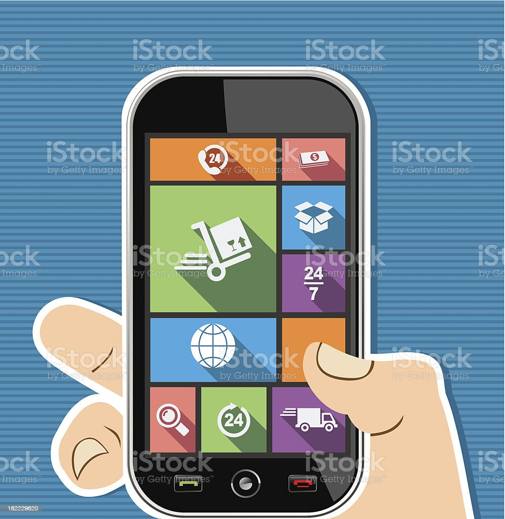 Shipping concept human hand holds a smart phone UI applications. royalty-free stock vector art